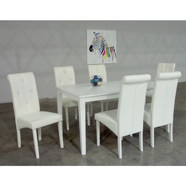 Warehouse Of Tiffany Dita 7 Piece White Dining Set Free