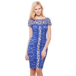 Terani Couture Women's Blue Lace Short Cocktail Dress