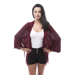 Soho Apparel Women's Solid Knit Fringe Cardigan