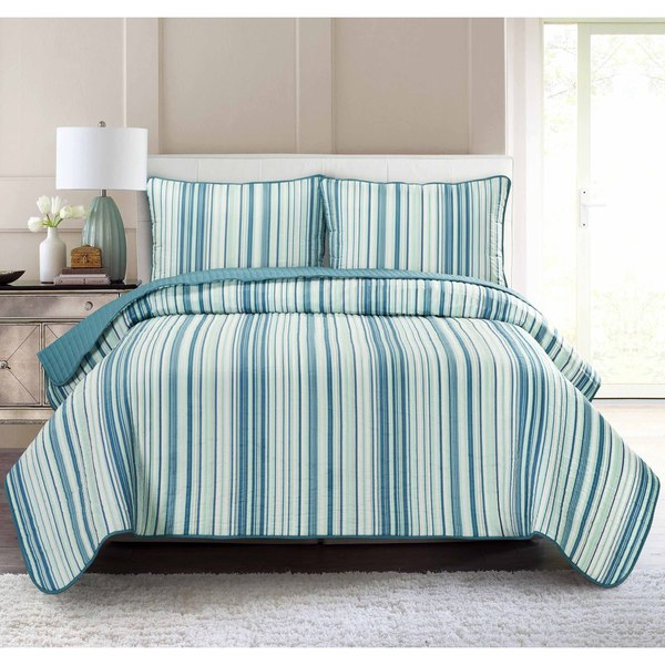 Pur Luxe Stripe Quilt Set