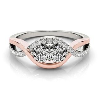 Auriya 14k Two-tone Gold 1ct TDW Round-cut Diamond 2-stone Ring (H-I, SI1-SI2)