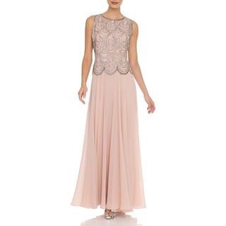 J Laxmi Women's Blush Scalloped Beaded Dress with Shawl