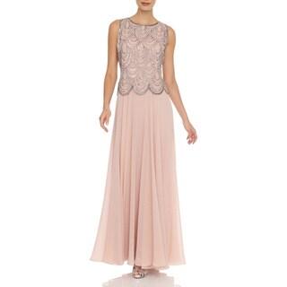 J Laxmi Women's Blush Scalloped Beaded Dress with Shawl