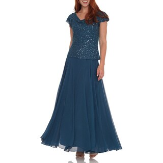 J Laxmi Women's Teal Beaded Cowl Neck Dress