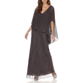 J Laxmi Women's Slate Sheer Capelet popover Dress