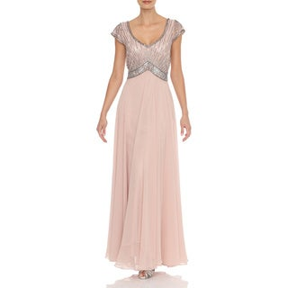 J Laxmi Women's Blush Beaded Mock Flair Dress