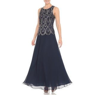 J Laxmi Women's Navy Embellished Popover Dress with Shawl