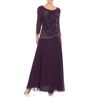 J Laxmi Women's Plum Three-Quarter Sleeve Beaded Dress