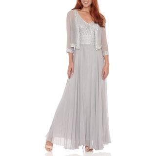 J Laxmi Women's Silver Sleeveless Beaded Chiffon Dress and Jacket
