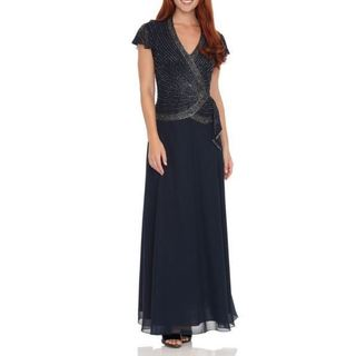 J Laxmi Women's Navy Beaded-bodice Dress