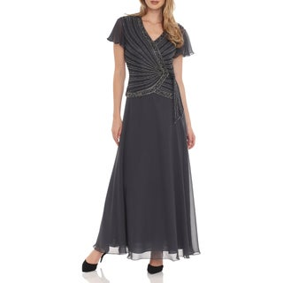 J Laxmi Women's Grey Beaded-bodice Dress