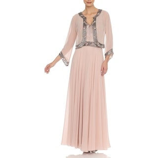 J Laxmi Women's Blush Embellished Dress with Jacket