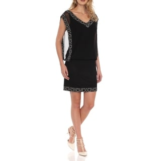 J Laxmi Women's Black Bead-Trim Cocktail Dress