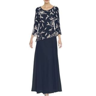 J Laxmi Women's Navy Floral Beads Three-Quarter Sleeve Dress