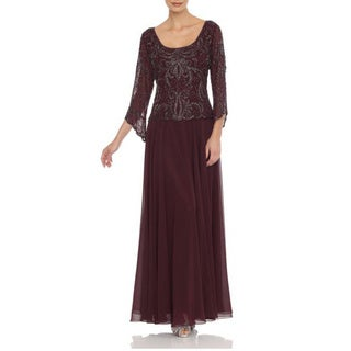 J Laxmi Women's Wine Three-Quarter-Sleeve Embellished Overlay Dress