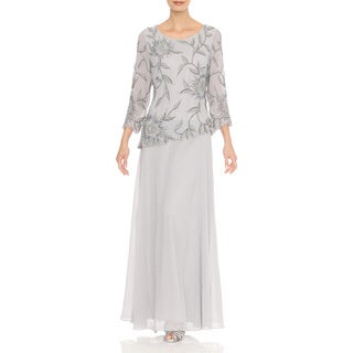 J Laxmi Women's Silver Floral-beaded Chiffon Dress