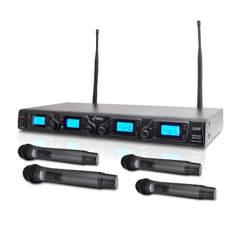 Pyle PDWM4360U Wireless Microphone System UHF Quad Channel with 4 Rack Mountable Handheld Microphones