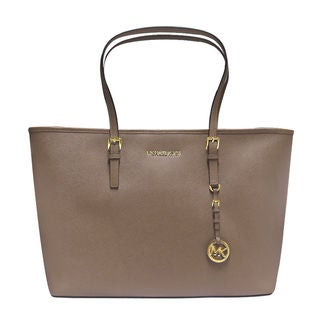 MICHAEL Michael Kors Jet Set Travel  Dark Dune Medium Top Zip Multifunction Tote