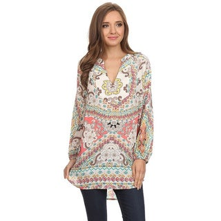 MOA Collection Women's Floral V-neck Long Top