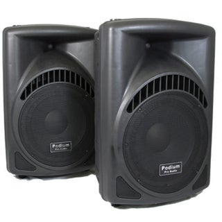 Podium Pro PP1204CD Pair 1200W DJ PA Powered 12-inch Speakers w/ Flash Drive PP1204CD-PR