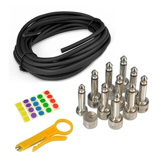 Pyle PSCBLKIT22 Pro Audio Pedal Board Patch Cables and 10-piece Universal D.I.Y. Custom Cut 10' Wire Kit