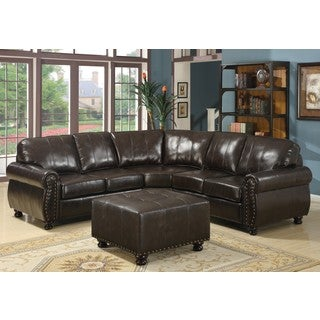 LYKE Home Thomas Bonded Leather Sectional with Ottoman