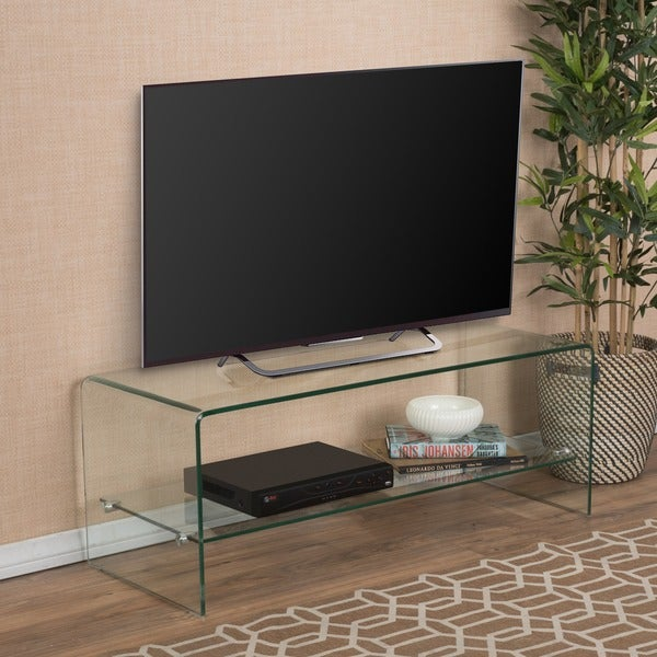 ramona glass entertainment tv console stand with shelf by