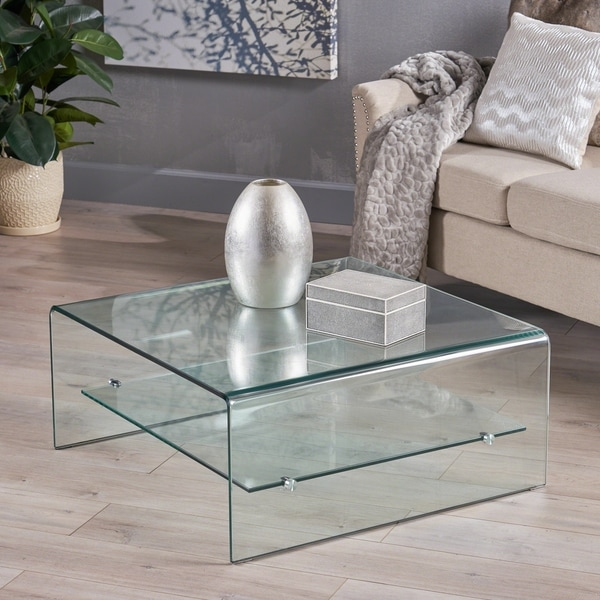 Ramona Square Glass Coffee Table With Shelf By Christopher Knight Home by Christopher Knight Home