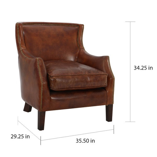 Tillo Top Grain Vintage Brown Leather Club Chair By Christopher Knight Home    Free Shipping Today   Overstock.com   18149644