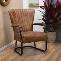 Pancho Top Grain Vintage Brown Leather Arm Chair by Christopher Knight Home