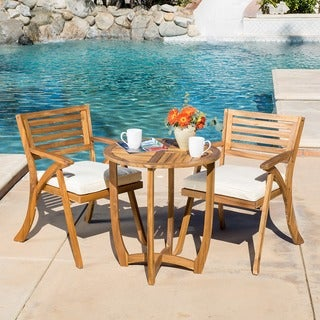 Coronado Outdoor 3 Piece Acacia Wood Bistro Set With Cushions By  Christopher Knight Home