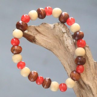 Handcrafted Ceramic Albesia Wood 'Red Connection' Bracelet (Indonesia)