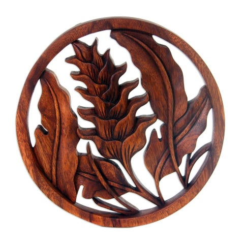Handcrafted Suar Wood 'Proud Heliconia' Relief Panel (Indonesia) - Brown