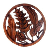 Handmade Suar Wood 'Proud Heliconia' Relief Panel (Indonesia) - Brown