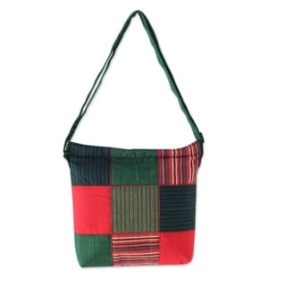 Handcrafted Cotton 'Green Joglo' Shoulder Bag (Indonesia)