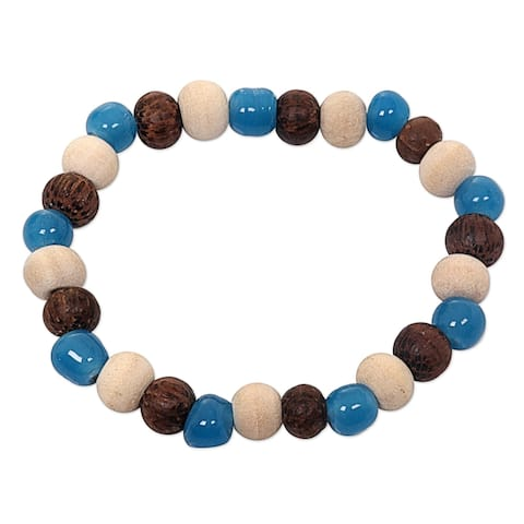 Ceramic Albesia Wood 'Colorful Morning' Bracelet