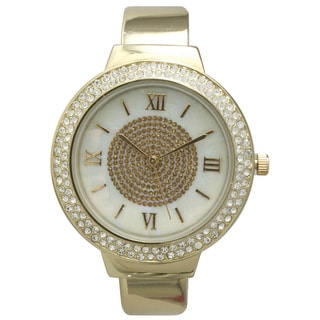 Olivia Pratt Women's Rhinestone Bezel Center Sparkle Cuff Watch