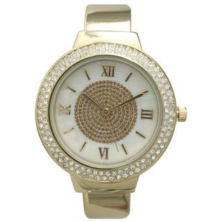 Olivia Pratt Women's Rhinestone Bezel Center Sparkle Cuff Watch