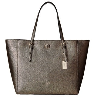 Coach Metal Pebble Leather Turnlock Tote