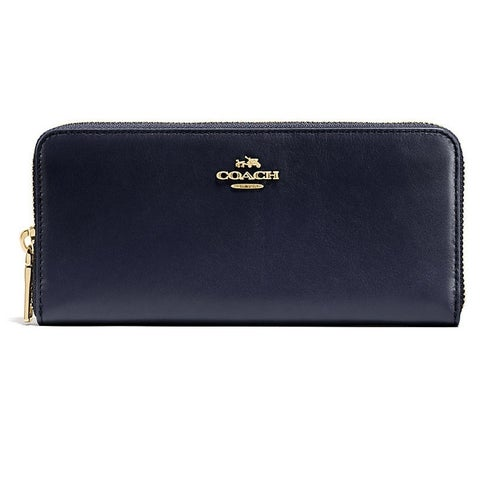 Coach Smooth Leather Slim Accordion Zip Wallet