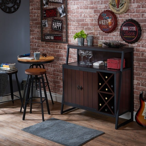 Furniture of america rochulls industrial walnut multi for Furniture of america gelenan industrial cement like multi storage buffet