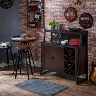 Furniture of America Rochulls Industrial Walnut Multi-storage Dining Server