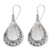 Handmade Sterling Silver 'Peacock Feather' Earrings (Indonesia)