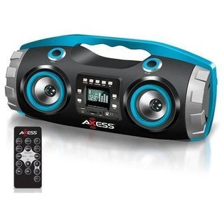 Axess PBBT2709 Blue Portable Bluetooth FM Radio/CD/MP3/USB/SD Heavy Bass Boombox