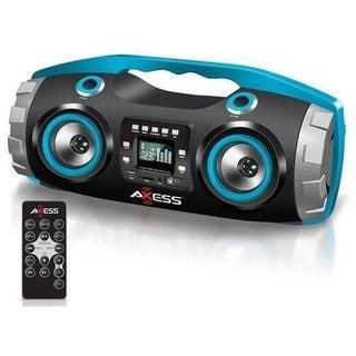 Axess PBBT2709 Blue Portable Bluetooth FM Radio/CD/MP3/USB/SD Heavy Bass Boombox