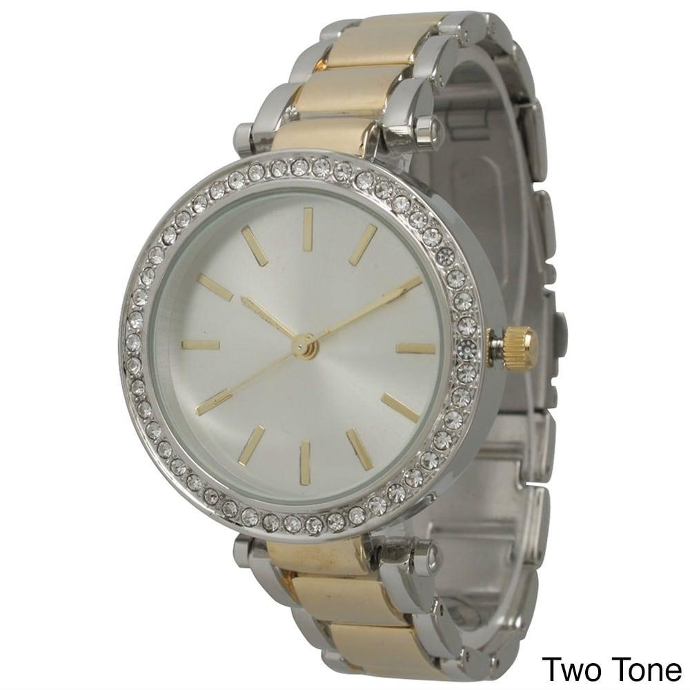Olivia Pratt Women's Chic Rhinestone Bezel Bracelet Watch...
