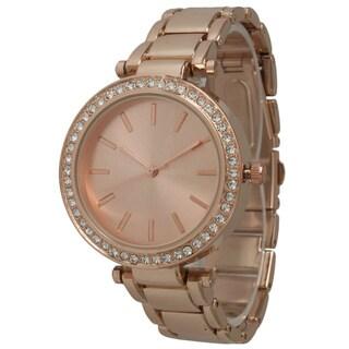 Olivia Pratt Women's Chic Rhinestone Bezel Bracelet Watch
