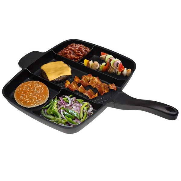 Black 15-inch MasterPan Non-Stick 5 Section Grill/Fry/Oven Meal Skillet