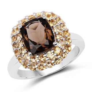 Malaika 4.06 Carat Genuine Smoky Quartz and Citrine .925 Sterling Silver Ring