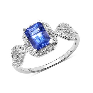 Malaika .925 Sterling Silver 1 1/5ct Genuine Tanzanite & White Sapphire Ring - Blue